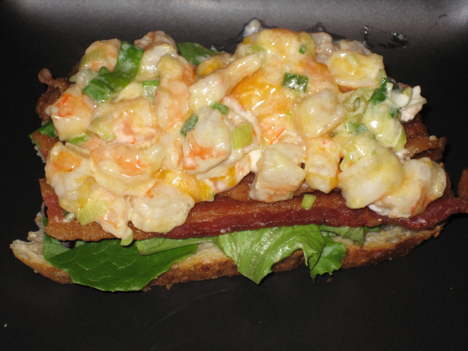 Last Night's Dinner: Open Faced Shrimp Melt