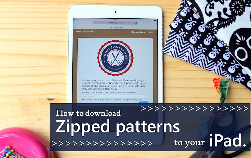 iPads can not download or open zip files with out help. Learn what application to use so you can use your iPad to sew your favorite patterns. ***This was is so easy. Now I can use my iPad to download zipped sewing patterns.