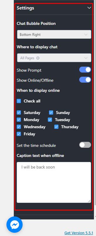 Messenger integration settings