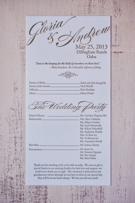 Gloria and Andrew's Letterpress Wedding Invitations