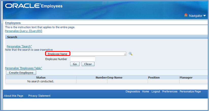 Main employee search page in OAF