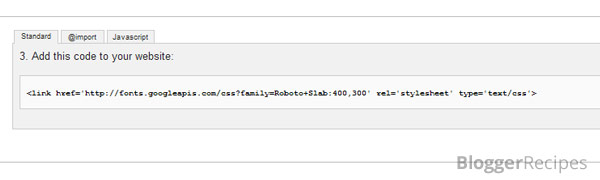 Code for Google Web Font