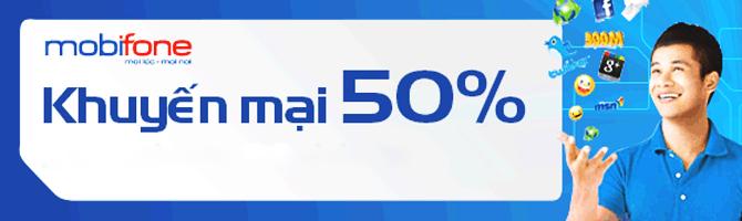 Mobifone khuyến mại 50%
