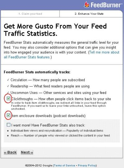 Menentukan Statistik Trafik feed