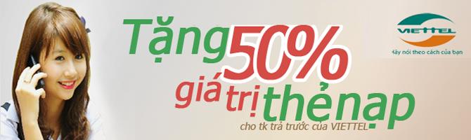 Viettel khuyến mại 50%
