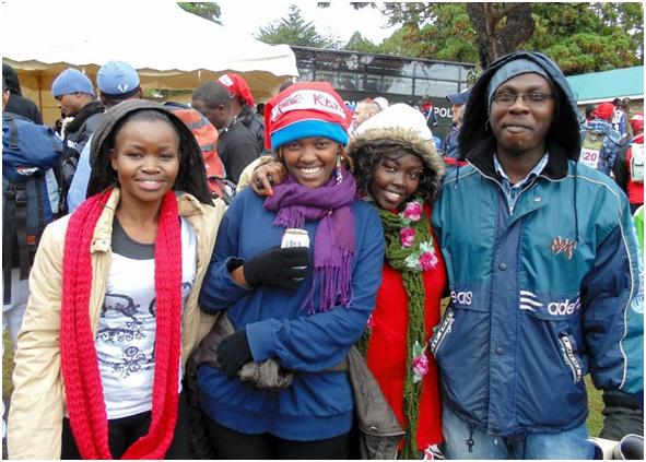 Vivien Wamalwa with team on Mt. Kenya adventure trip.  Pictured from left to right: Vivien Wamalwa, Rachael Njoki, Pridence Kibaya and Eric Angadia.