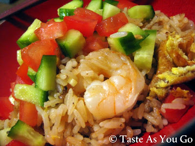 Shrimp Fried Rice - Recipe Courtesy of Johnny Mango World Cafe & Bar in Cleveland, OH - Photo by Michelle Judd of Taste As You Go
