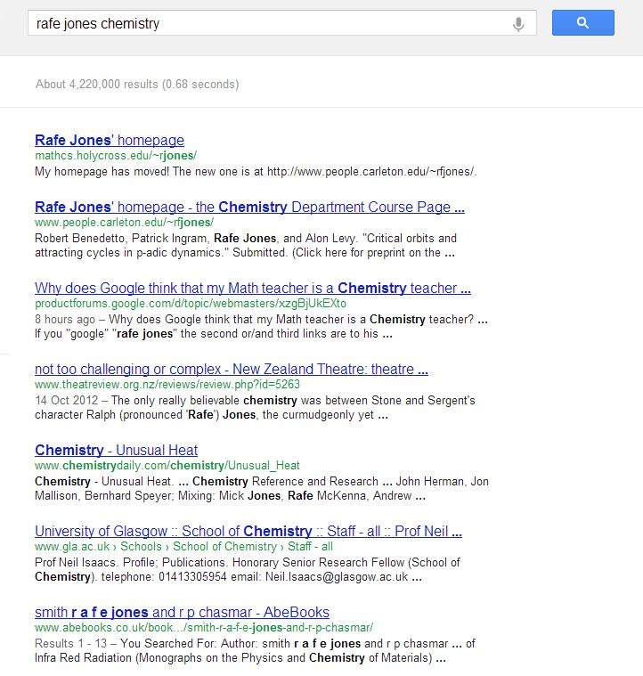 Why does Google think that my Math teacher is a Chemistry