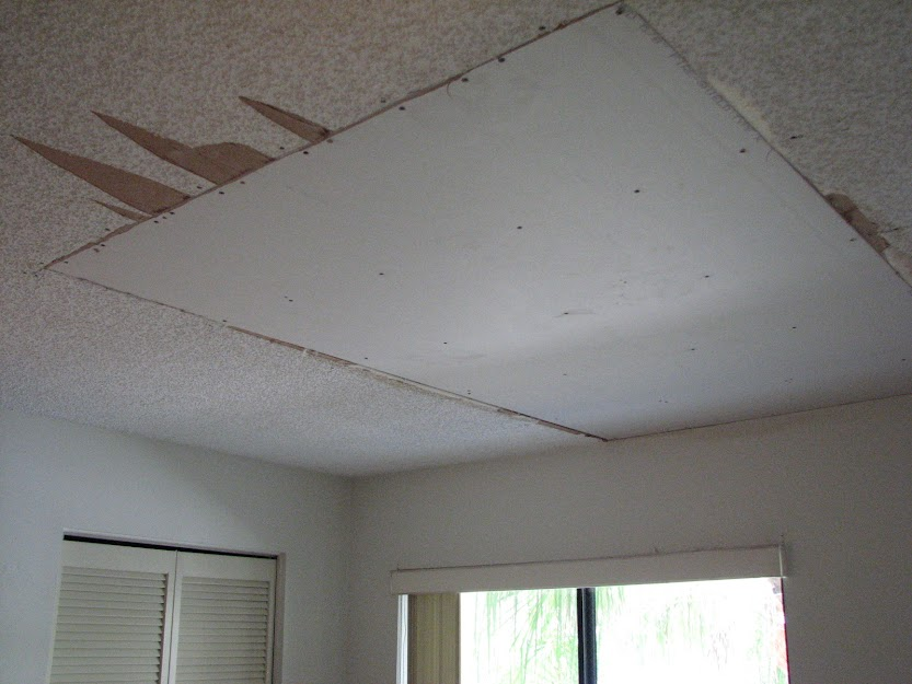 Cape Canaveral Fl Water Damaged Popcorn Ceiling From Tropical Storm Debby
