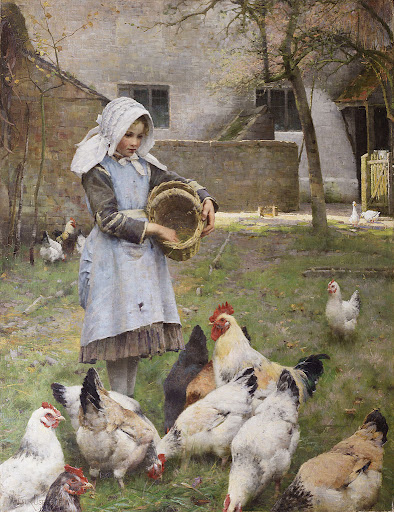 Walter Frederick Osborne - Feeding the chickens