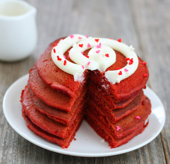 photo of a sliced stack of pancakes