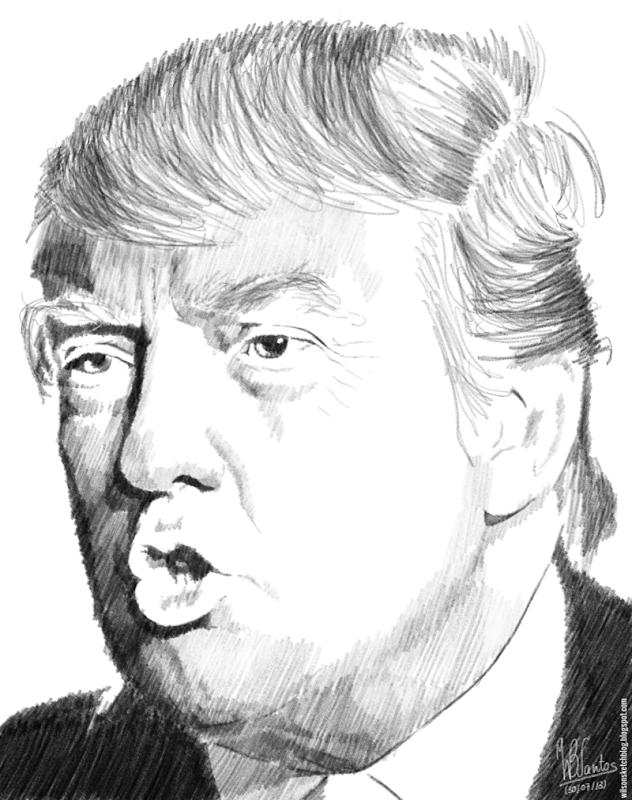 Pencil sketch of Donald Trump, using Krita 2.7 Alpha.