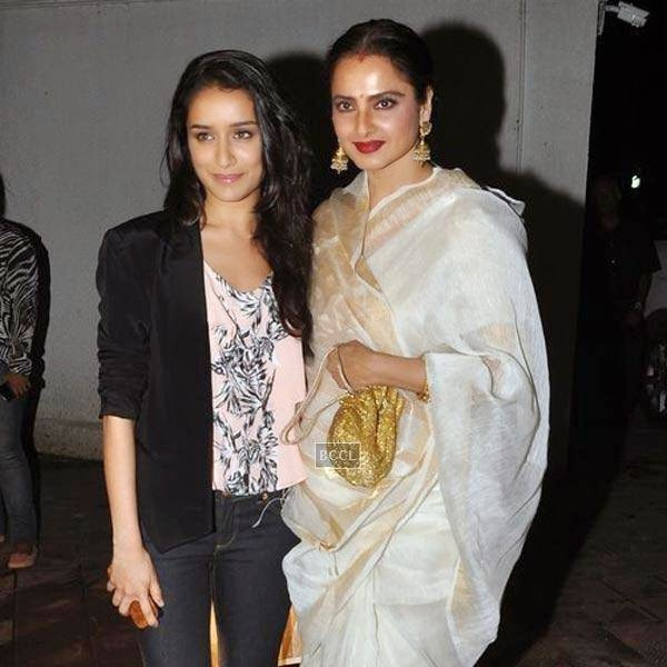 Shraddha Kapoor and Rekha pose for a photo during the wrap-party of Bollywood movie Mary Kom, held at Sanjay Leela Bhansali's residence on July 26, 2014.(Pic: Viral Bhayani)
