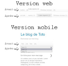 Comparaison du gadget, versions web et mobile, avant et après customisation