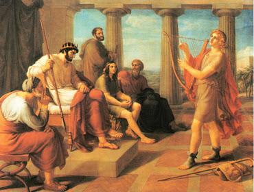 David spielt vor Saul - G. Schick