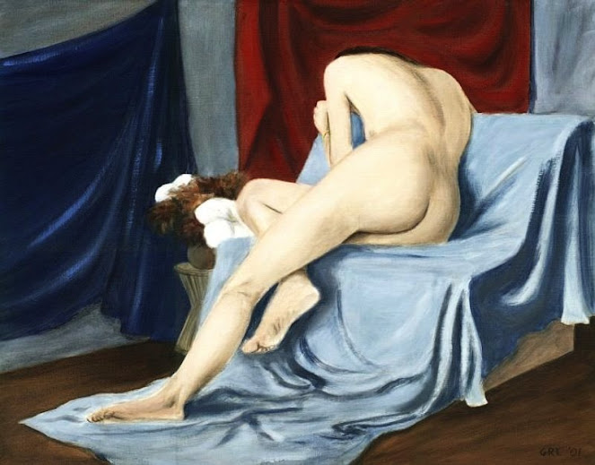 A traditional-modern oil painting, Nude, 2001, painted at Maryland Hall for the Creative Arts, Annapolis, Maryland.