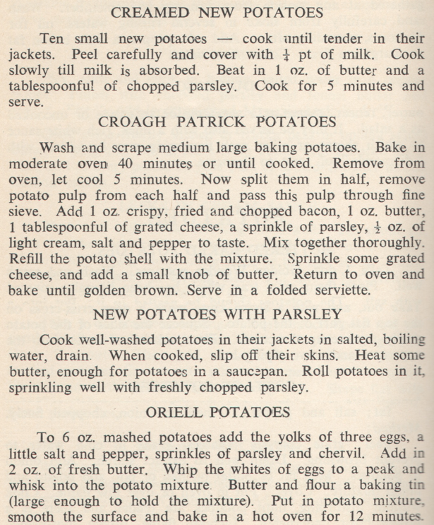 Irish Potato Recipes 1959