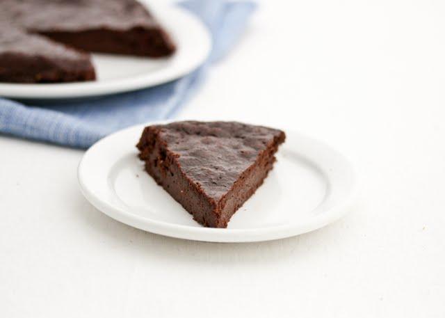 photo of a slice of Flourless Chocolate Cake on a plate