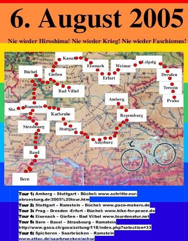 Flyer (Ausschnitt) Streckenkarte »6. August 2005«.