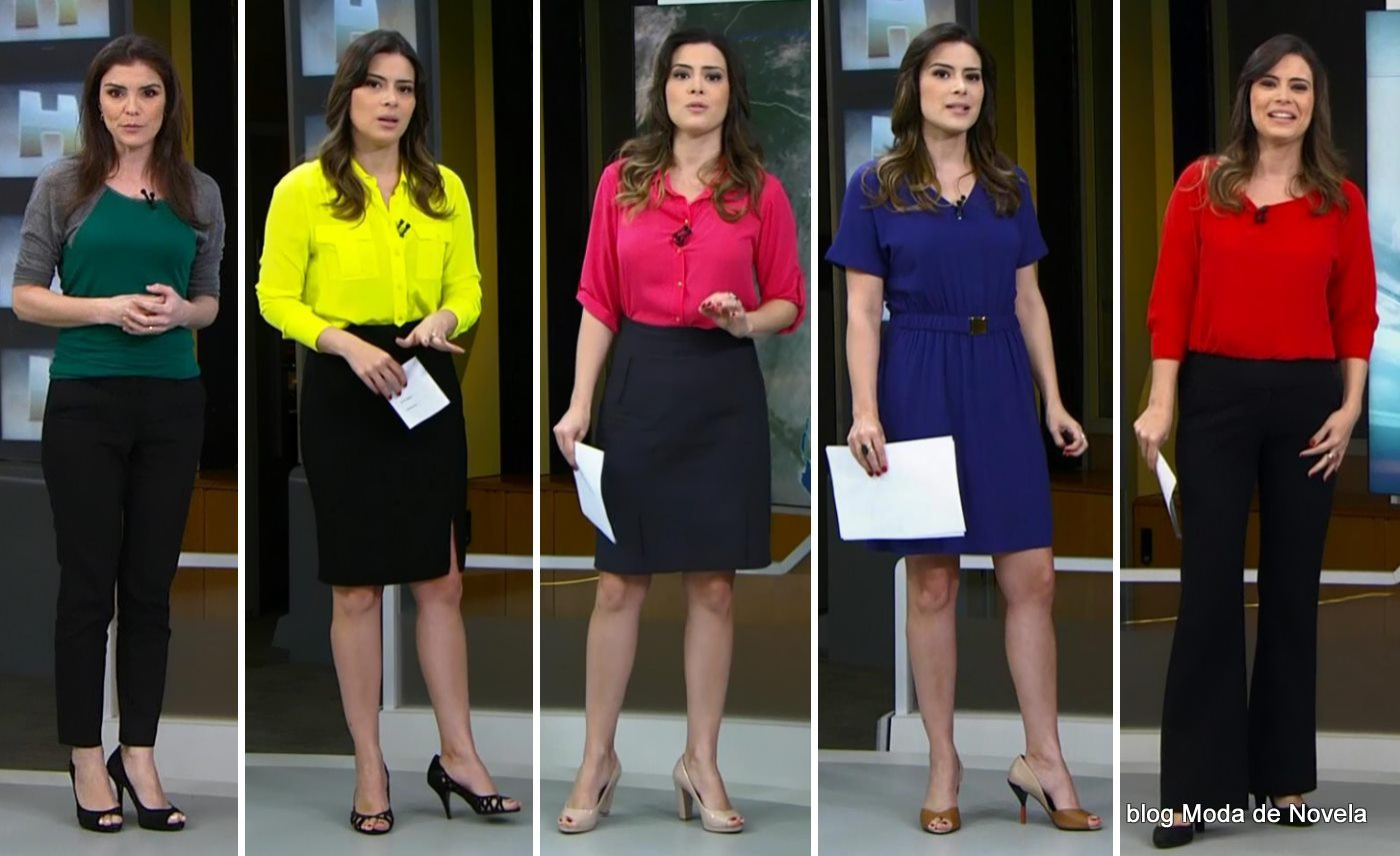 moda do programa Jornal Hoje - looks das moças do tempo dias 19 a 23 de maio