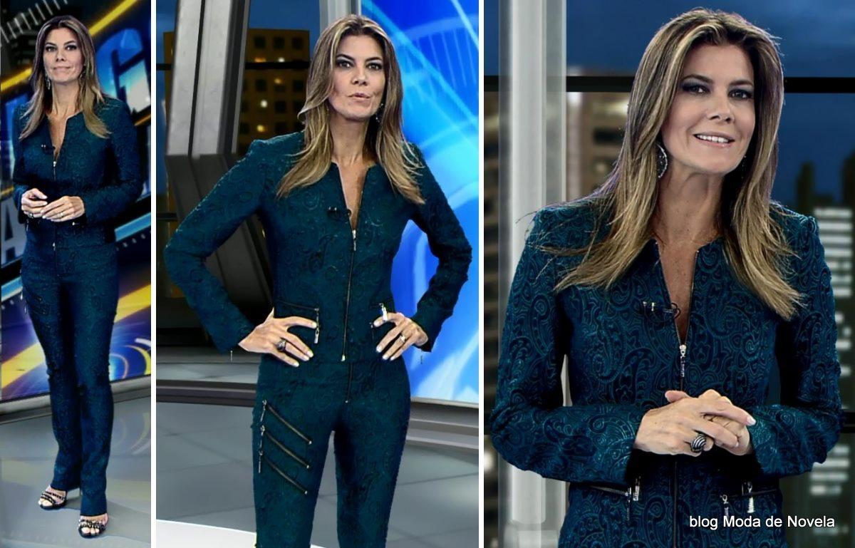 moda do programa Domingo Espetacular - look da Fabiana Scaranzi dia 11 de maio