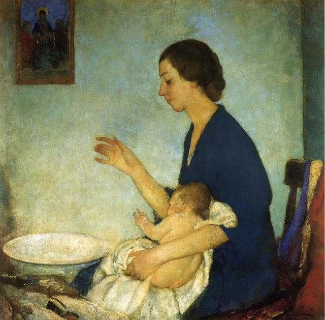 Charles Webster Hawthorne - The Bath - Portrait of Emelyn Nickerson with Baby