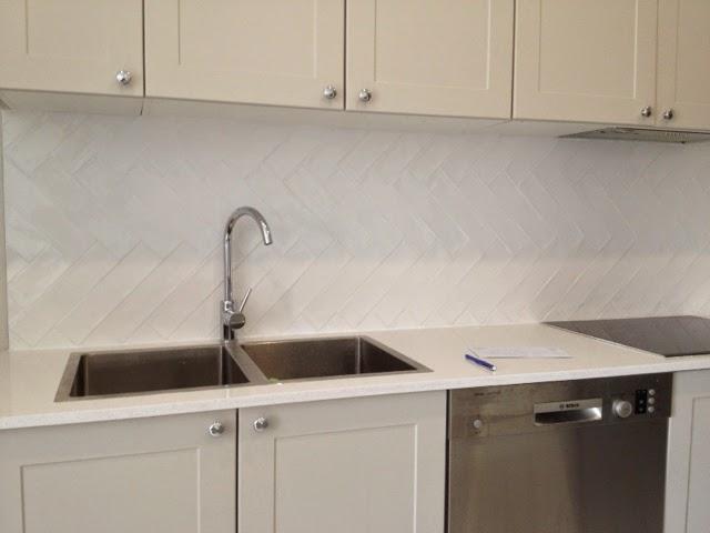 R U Tiling Herringbone Kitchen Splashback
