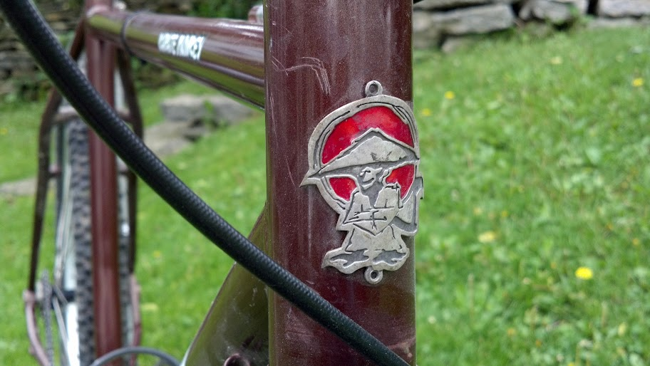 Front close up view of the head tube with emblem from a brown, 2003, Surly Karate Monkey prototype bike, on a front lawn