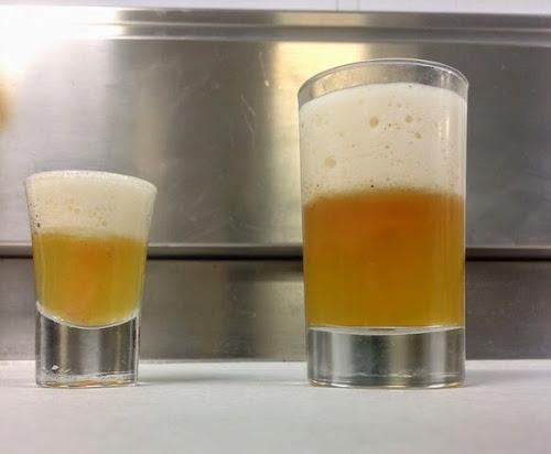 Σφηνάκι με ζελέ απο γκρέιπφρουτ, μέλι και αφρό μπύρας