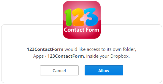 123ContactForm Dropbox integration