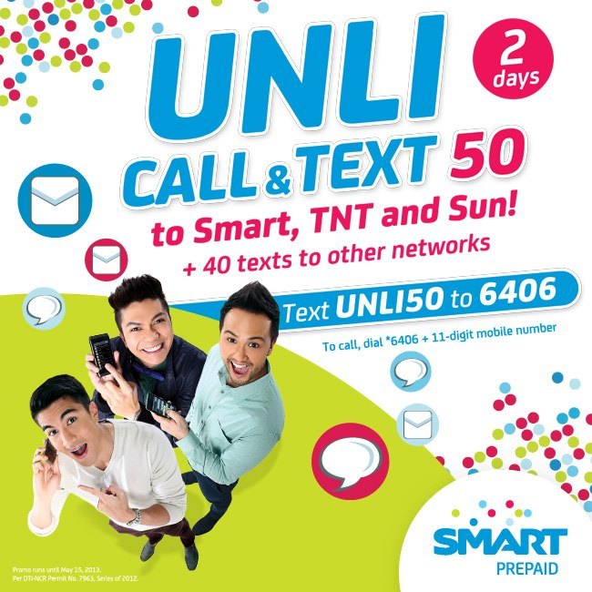 Smart Unli 50 promo! text UNLI50 to 6406    Smart Unli 50
