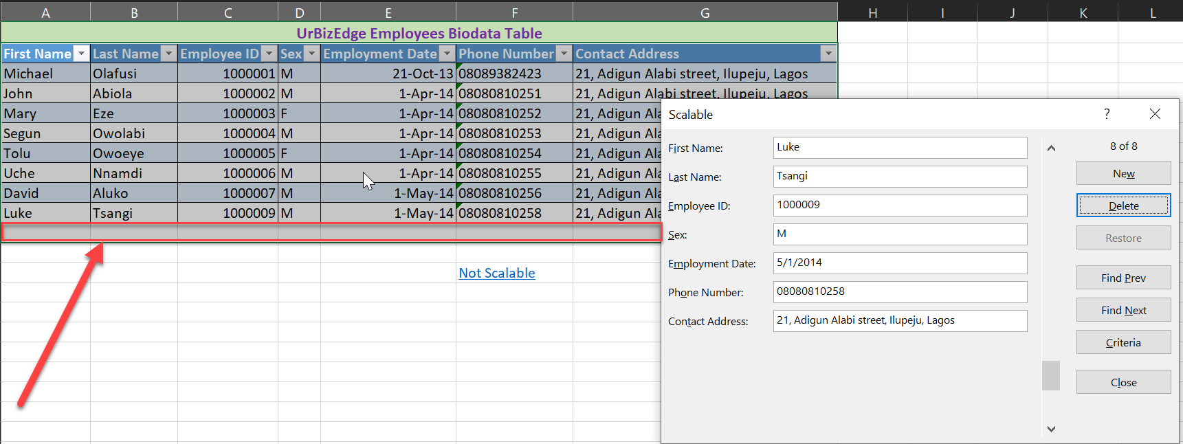 Create data entry form in Excel without using VBA or Coding