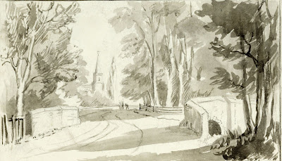 """ On the wall between the bridges, there is a black line to mark the boundary of the two parishes. About seventy years ago the boys of both parishes used to meet and fight at the boundary line. Now, in 1903 they all play football and cricket together."" From A Record of Shelford Parva by Fanny Wale P9"