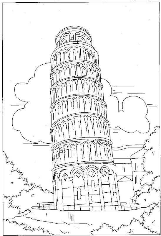 Free Tower Of Pisa Coloring Pages Leaning Tower Of Pisa Coloring Page