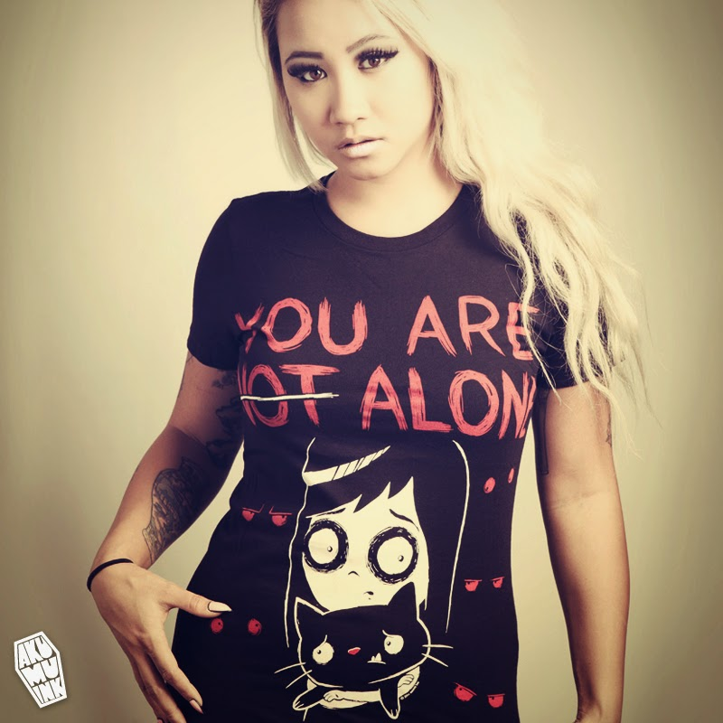 not alone, not alone tshirt, emo tshirt, hottopic tshirt, akumuink, scene shirt, jgoth shirt, japanese goth, coffin logo, nightmare shirt