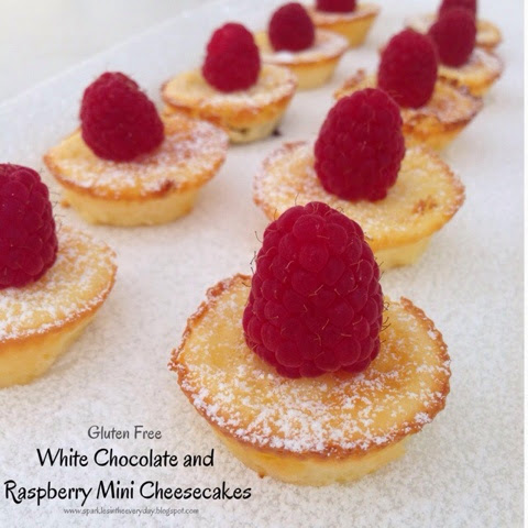 Gluten Free White Chocolate and Raspberry Mini Cheesecakes