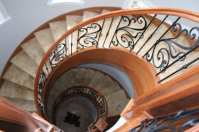 Architecture, Gallery, Interior, Stair Risers, Stair Treads, Staircases, Travertine