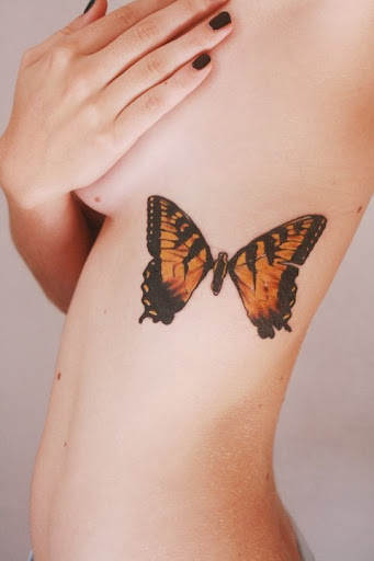 butterfly tattoo design for ribcage