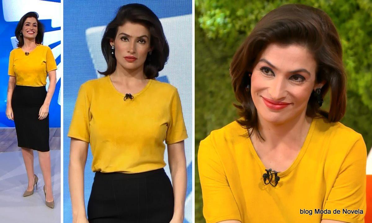 moda do programa Fantástico - look da Renata Vasconcellos dia 18 de maio