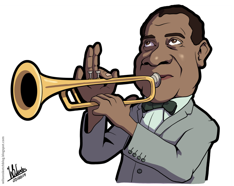 Cartoon caricature of Louis Armstrong.