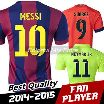 Free Shipping SPAIN 2015 MESSI SUAREZ NEYMAR JR Soccer