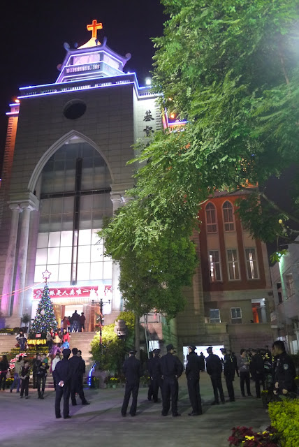 church with police standing outside in Quanzhou, China