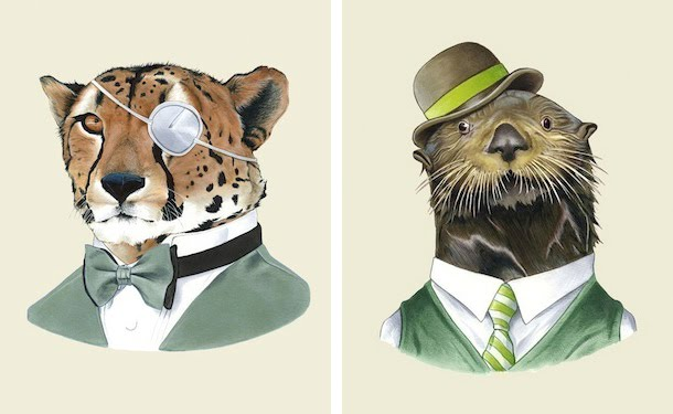 ryan berkley illustration otter and cheetah portraits