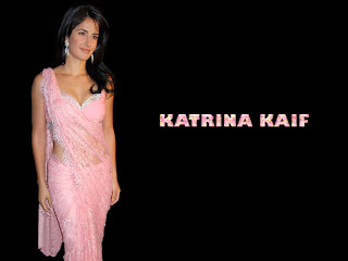 Bollywood Actress Katrina Kaif in pink transparent Saree