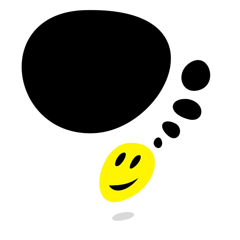 Free Vector Illustration: Yellow smiley face and blank black speech bubble with gray drop shadow on white background