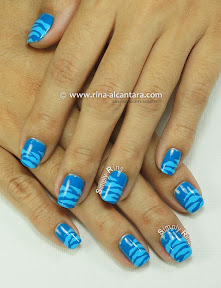 Blue Scratches Nail Art by Simply Rins