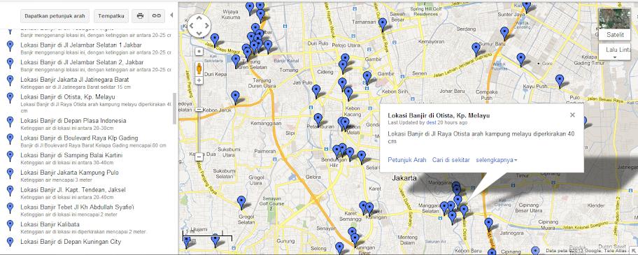peta banjir jakarta 2013 dengan google maps