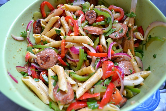 finished cajun pasta salad
