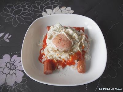 Arroz blanco con huevo trufado