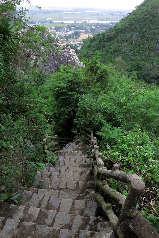 Steep stairs up Thuy Son Mountain